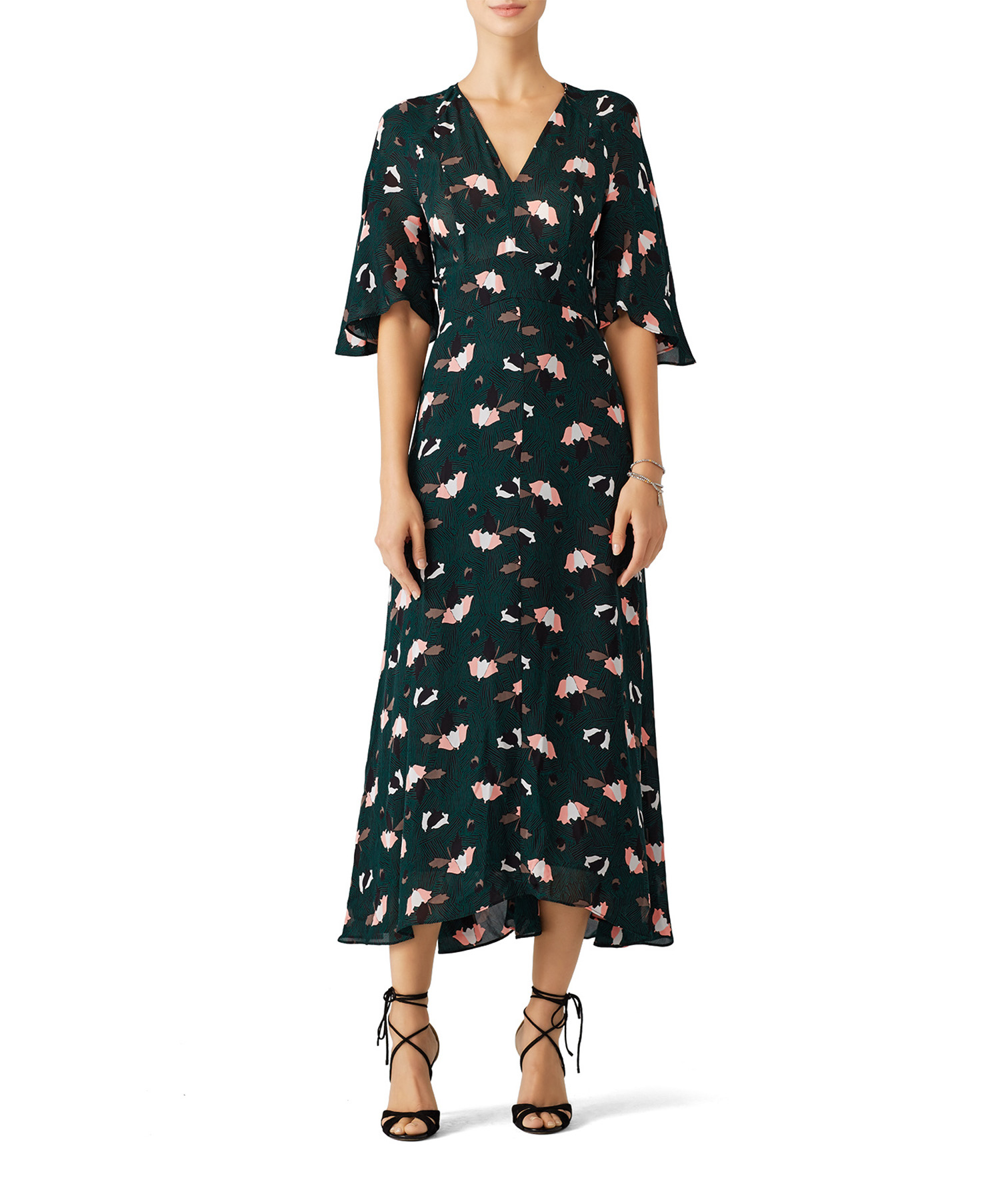 Scribble Printed Midi Dress on model