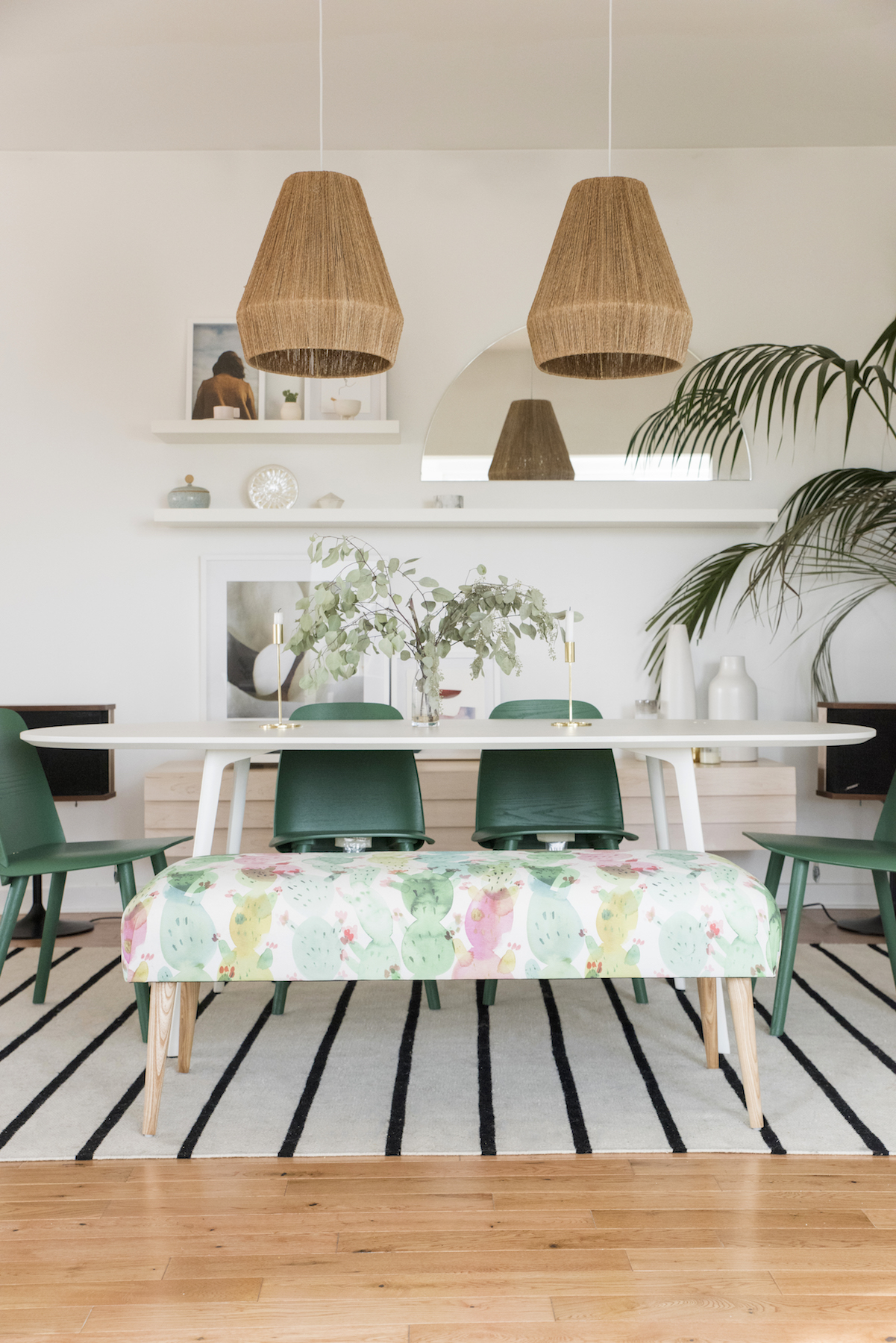 Designlovefest Dining Room With Colorful Bench and Table and Plants