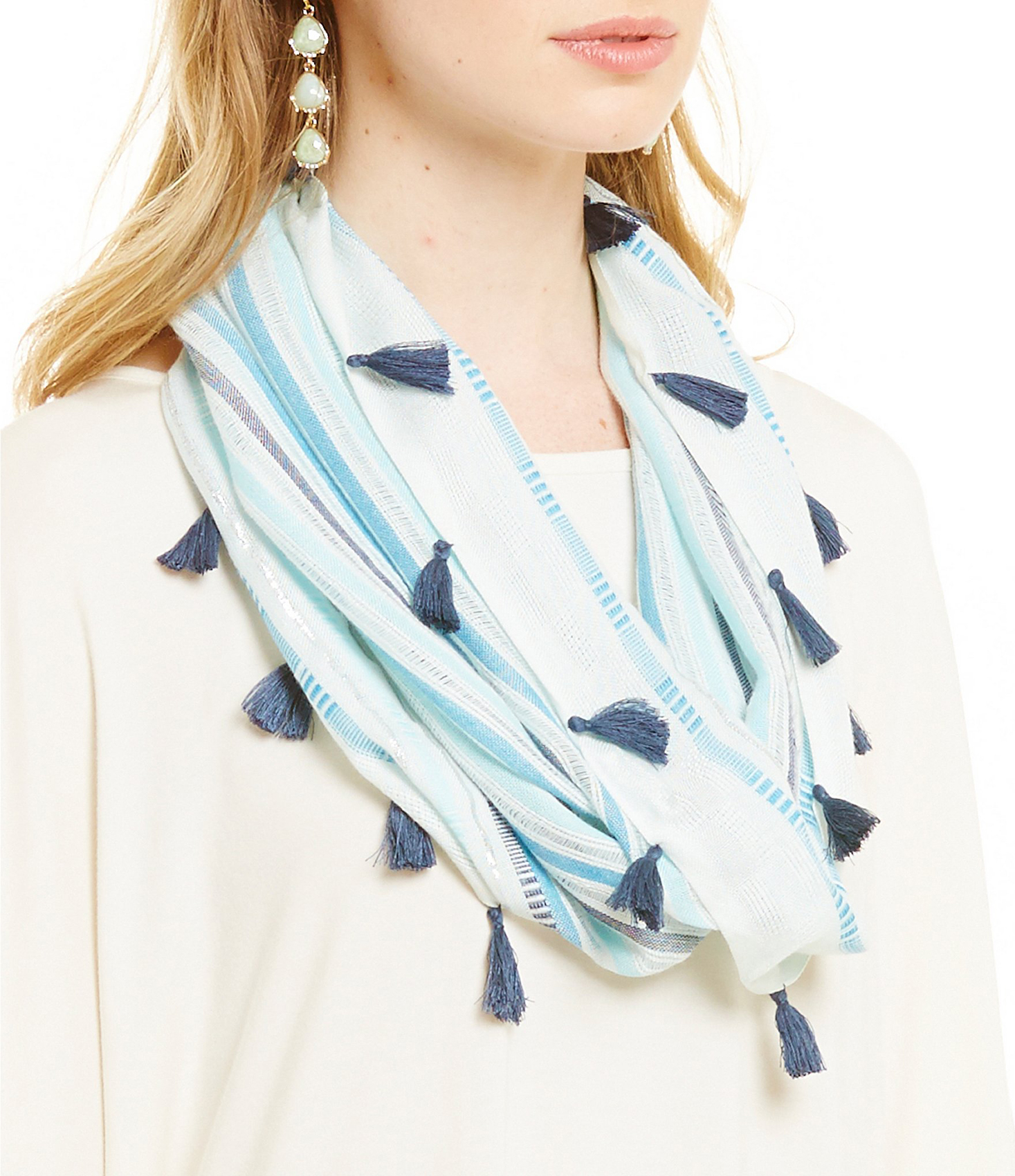 Collection 18 Striped Mini Infinity Scarf