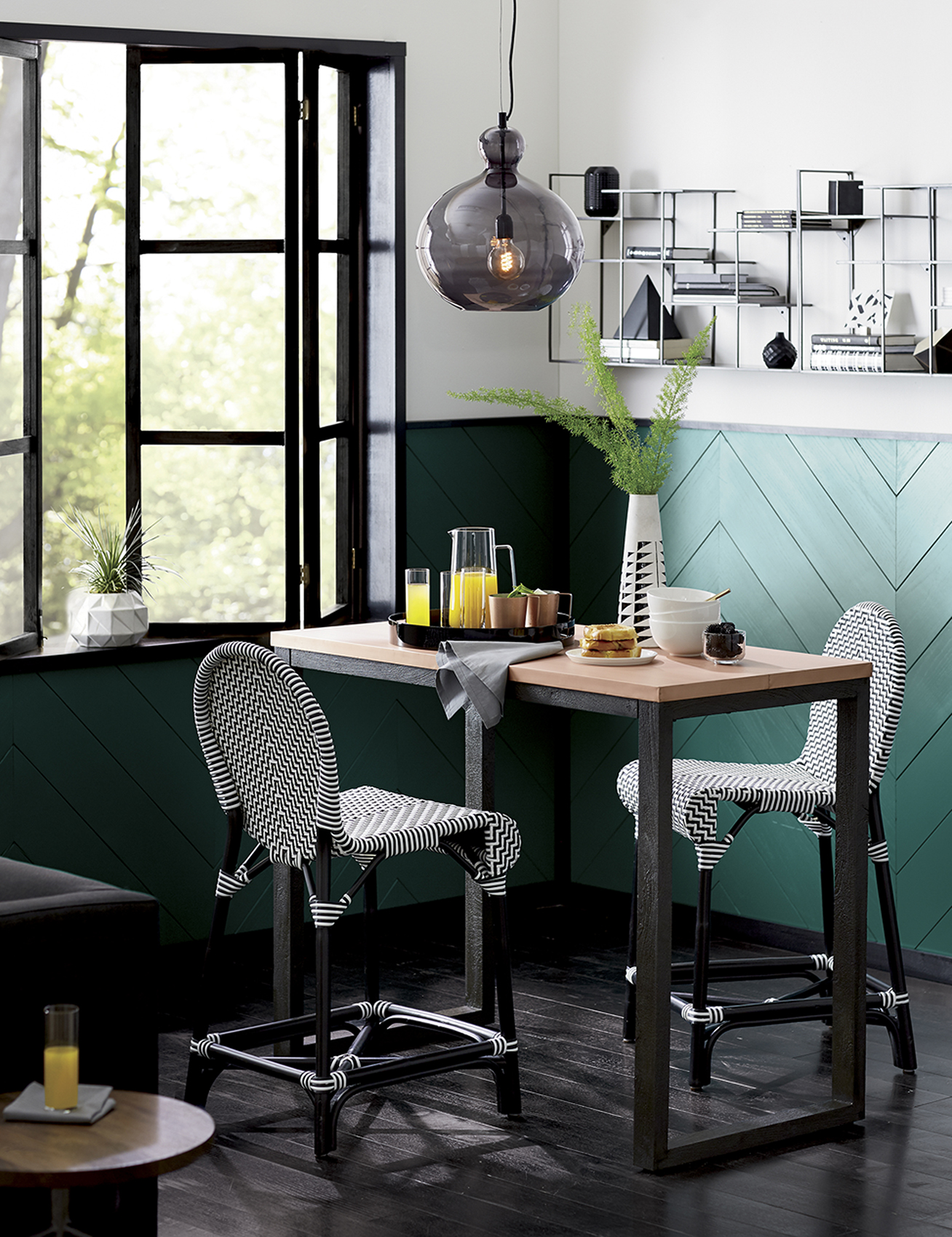 Dining table with chevron print chairs