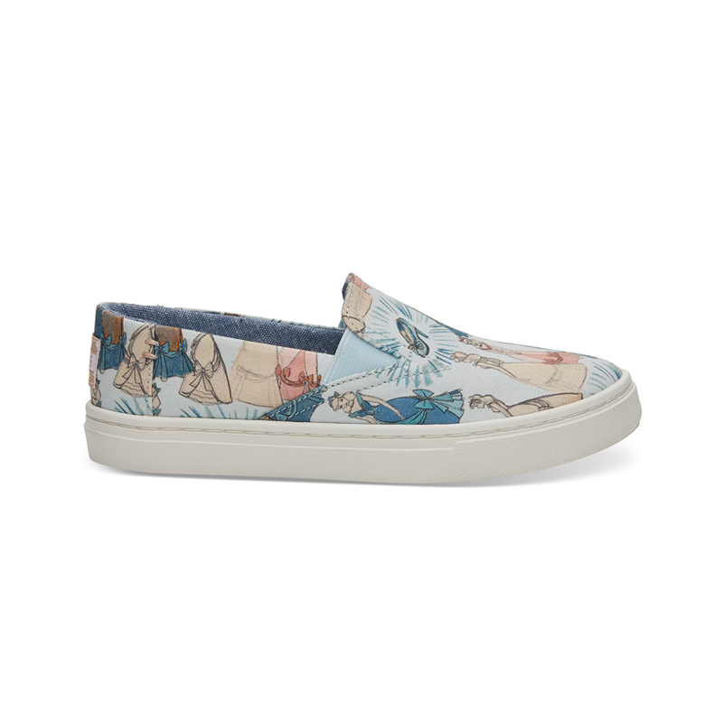 Disney X TOMS Blue Cinderella Youth Luca Slip-Ons