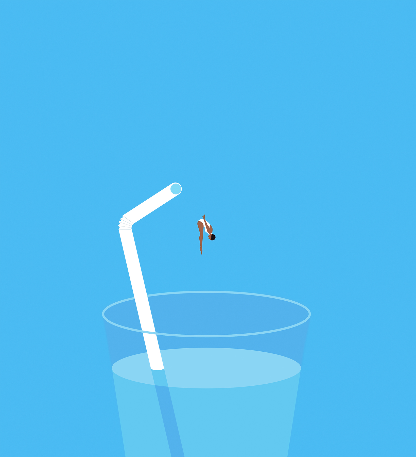 Illustration: Woman diving into glass of water