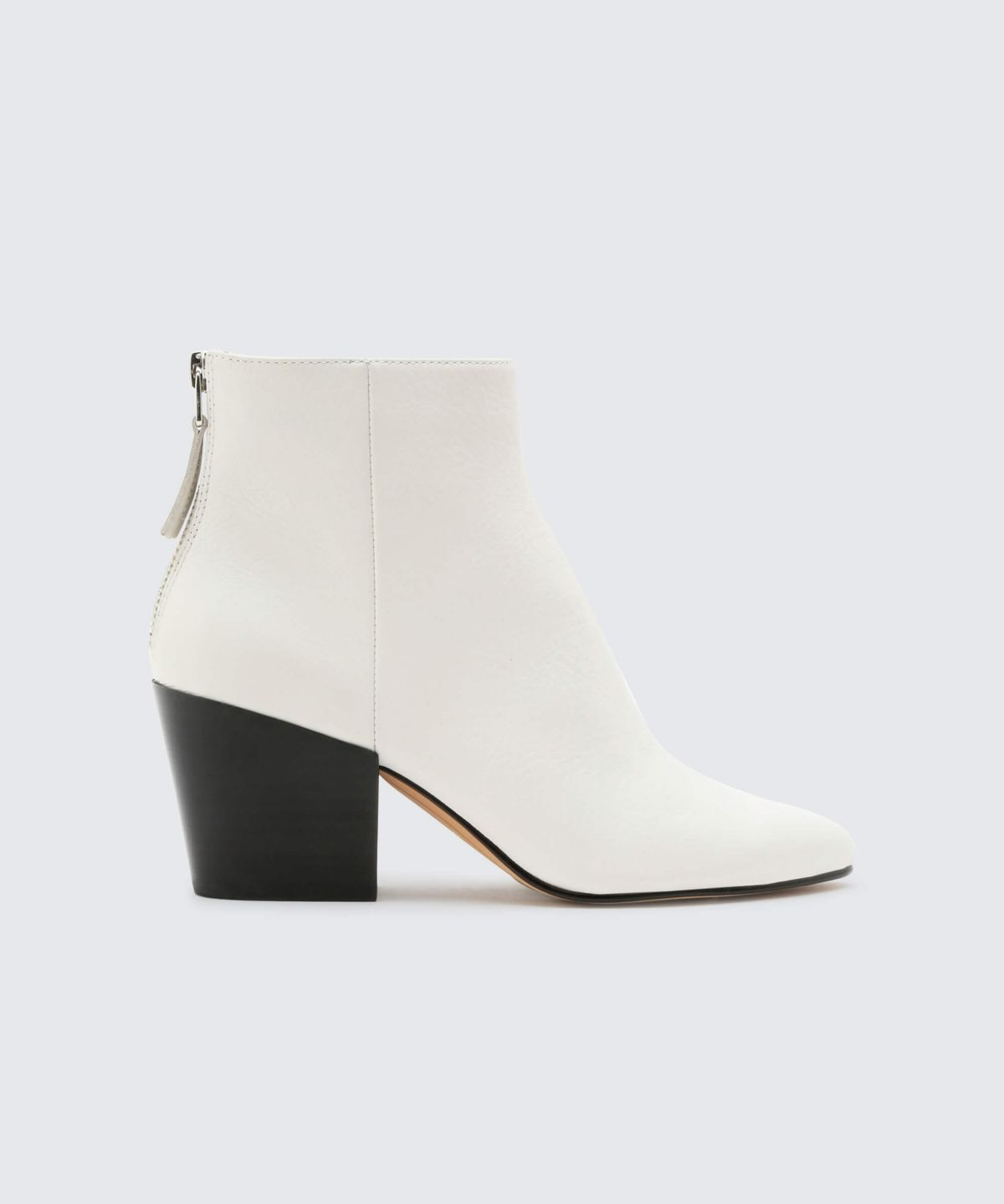 white ankle booties with zipper heel