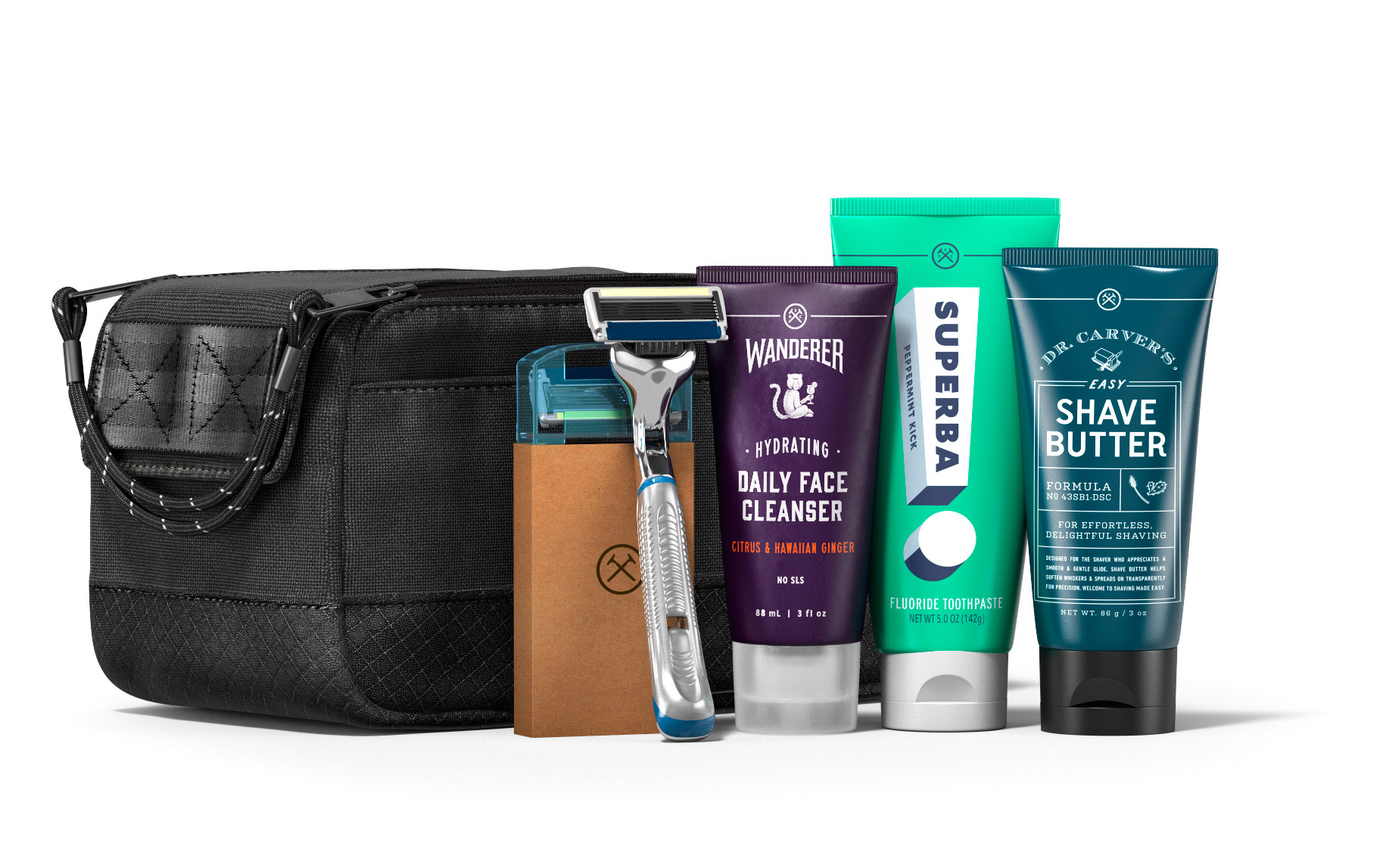 dollar shave club dopp kit with grooming supplies