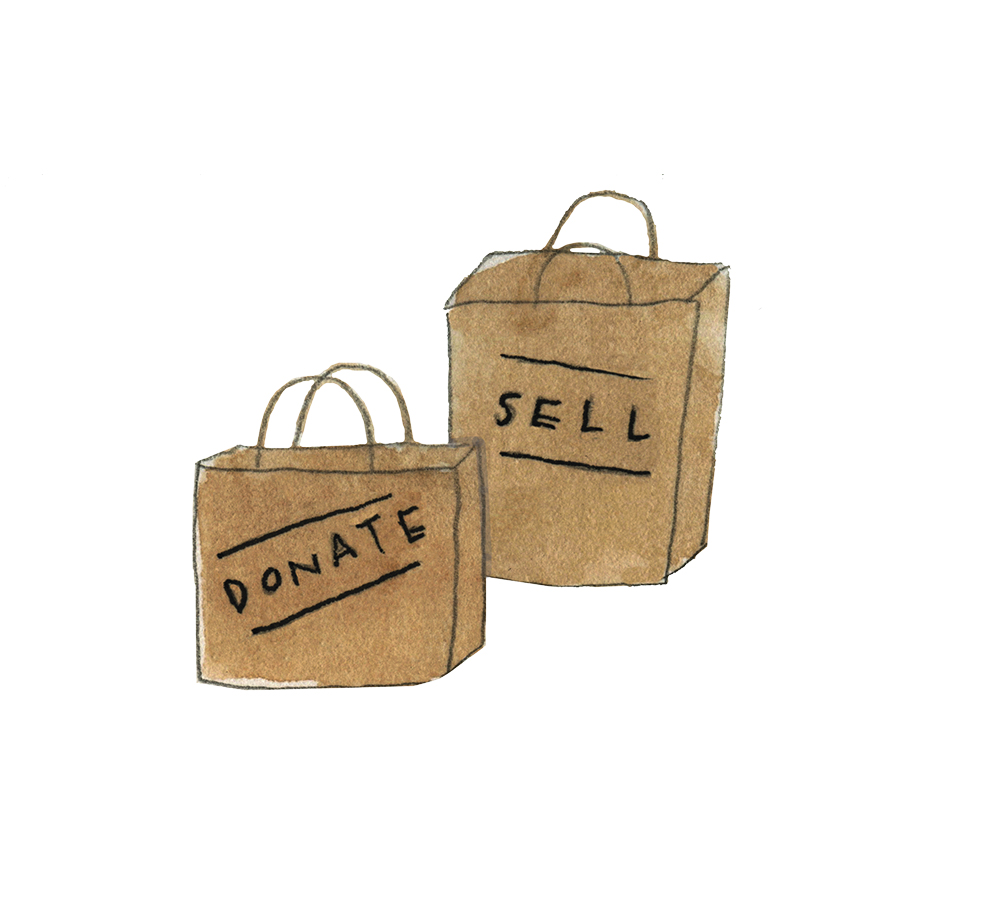 Donate and sell bags for purge