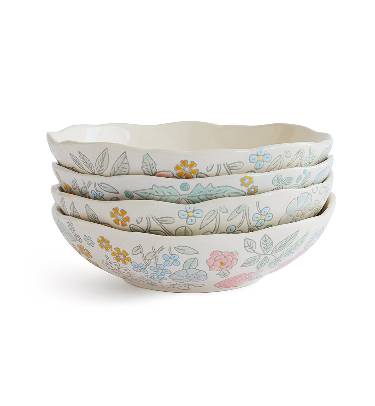 Dorothea Salad Bowls with floral pattern