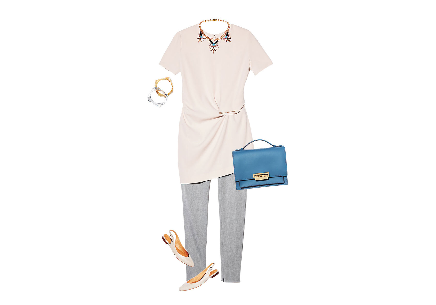 Shift Dress, Trousers and Pin