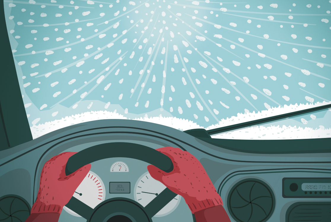 Illustration: person driving in snowstorm