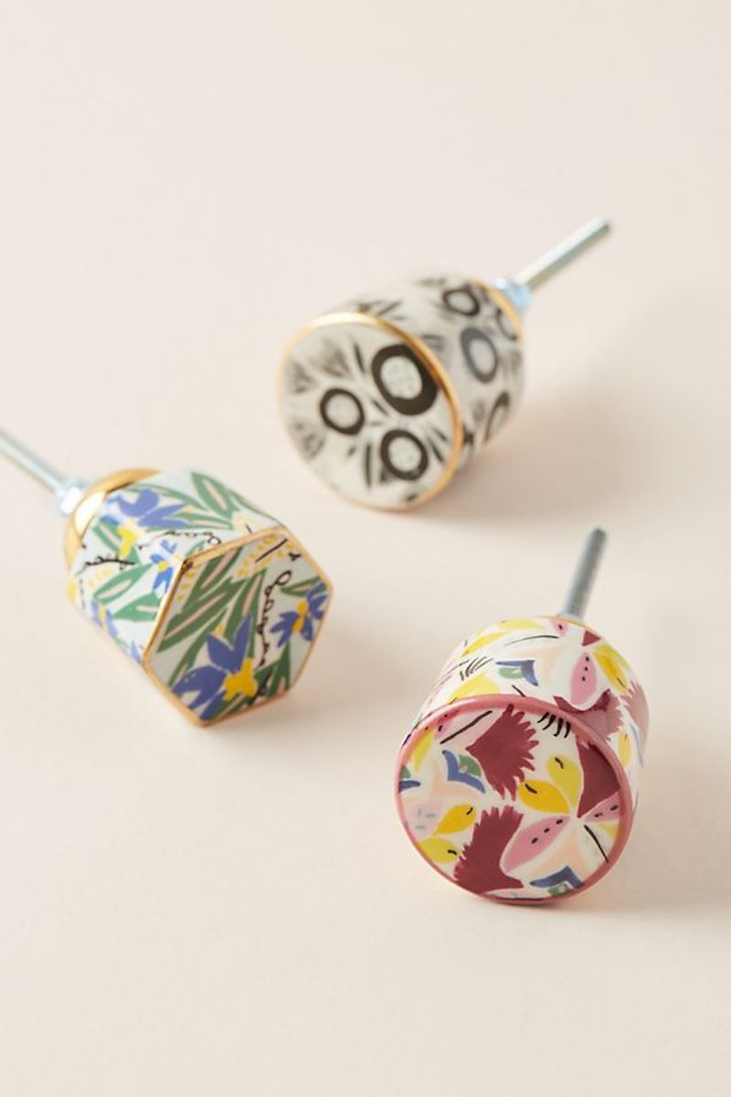 Easy home upgrades, colorful patterned drawer knobs