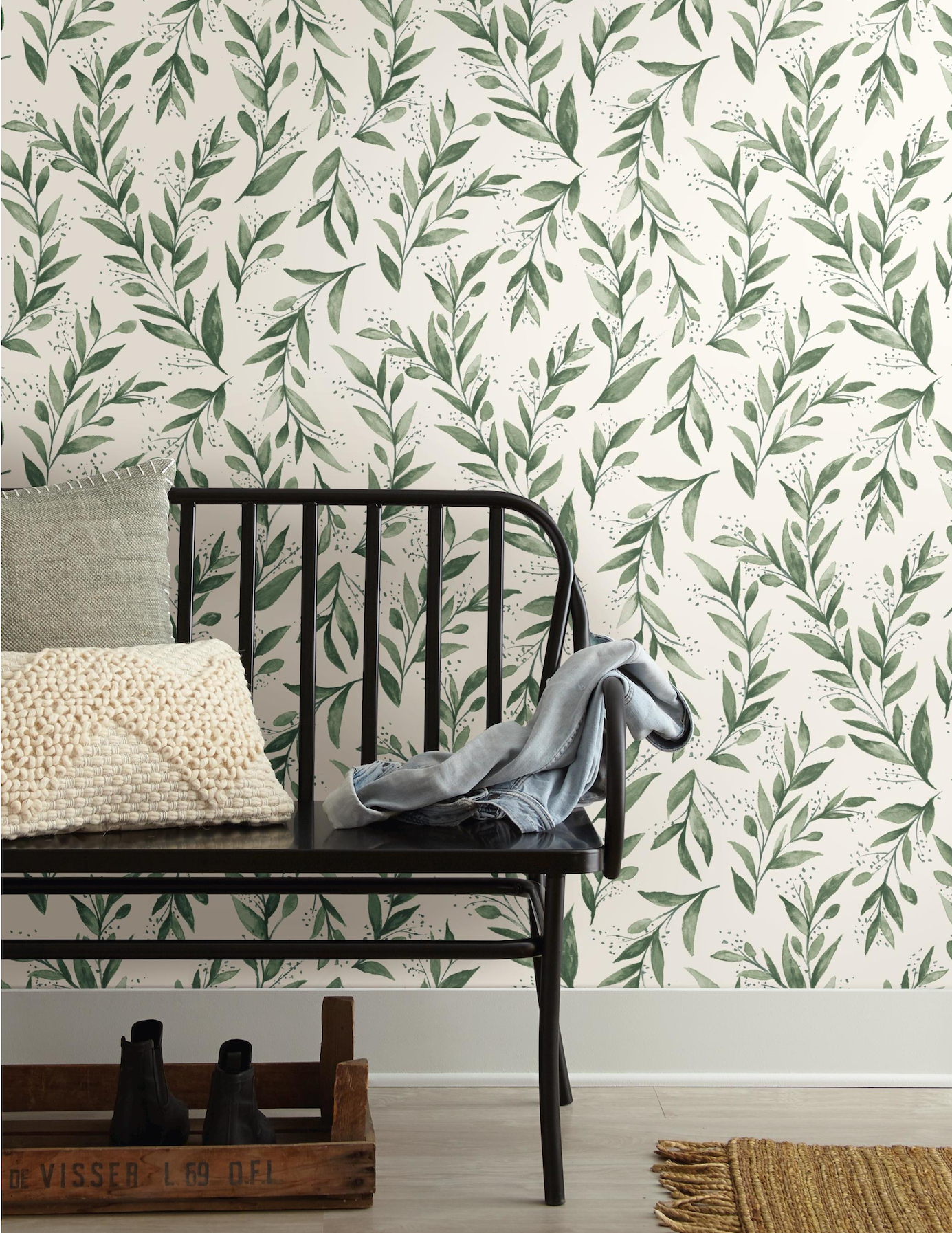 Magnolia Home, olive branch wallpaper from Home Depot