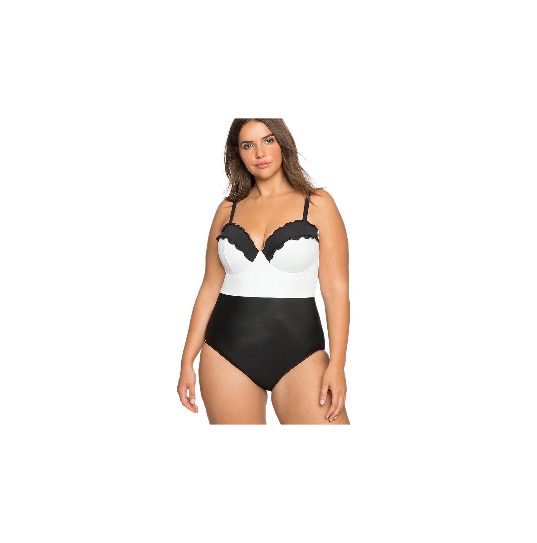 Scallop Color Blocked One-Piece Swimsuit