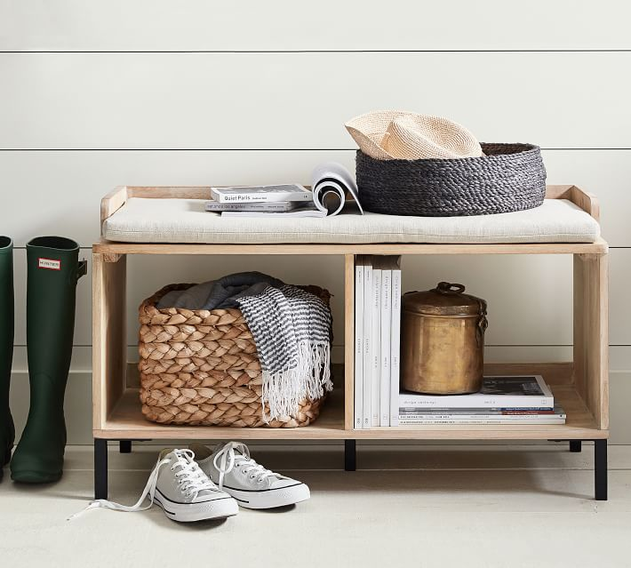 Entryway bench with cushion and shoe storage rack