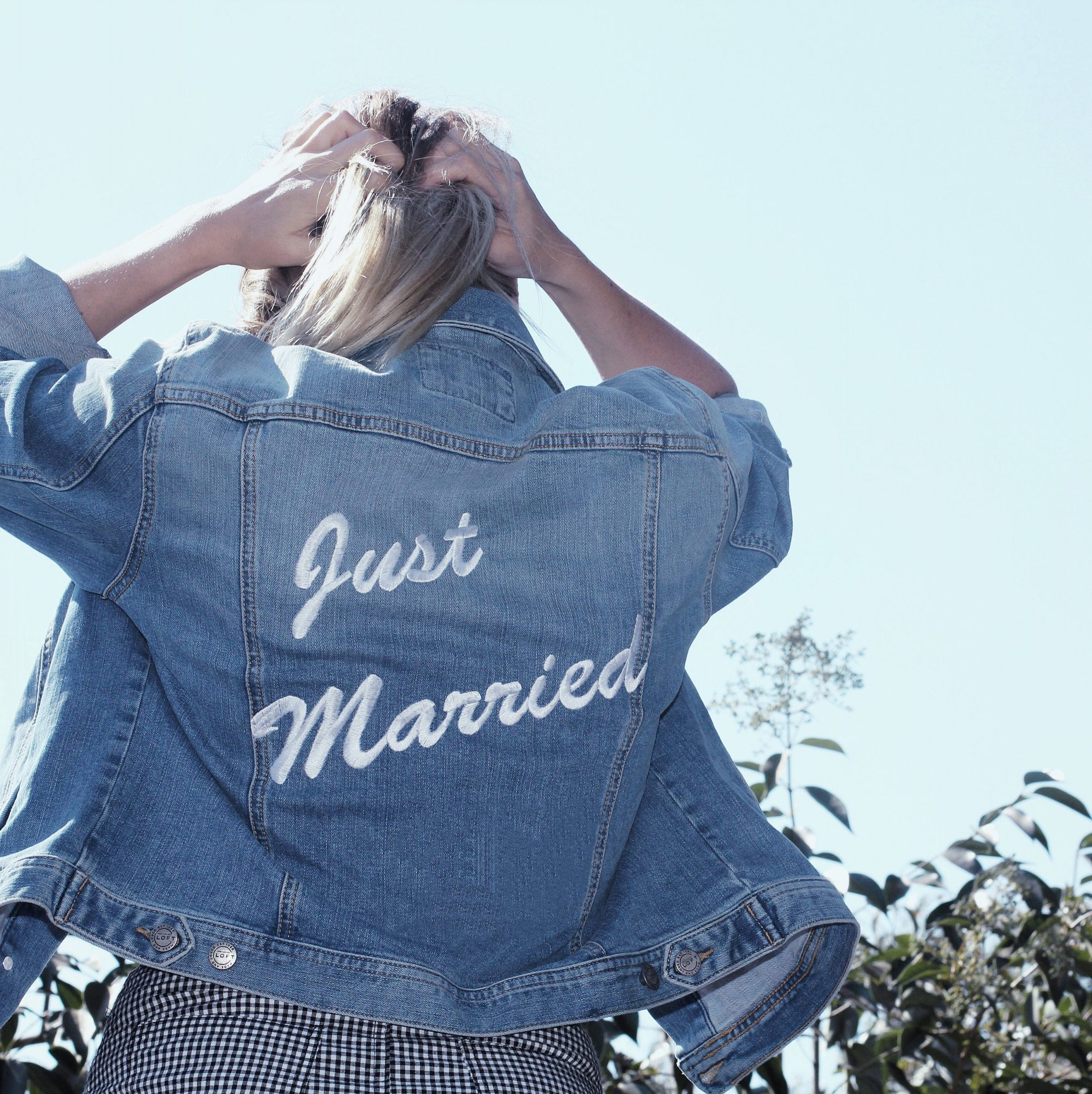 """Etsy Buy Denim Jacket with """"Just Married"""" Embroidered"""