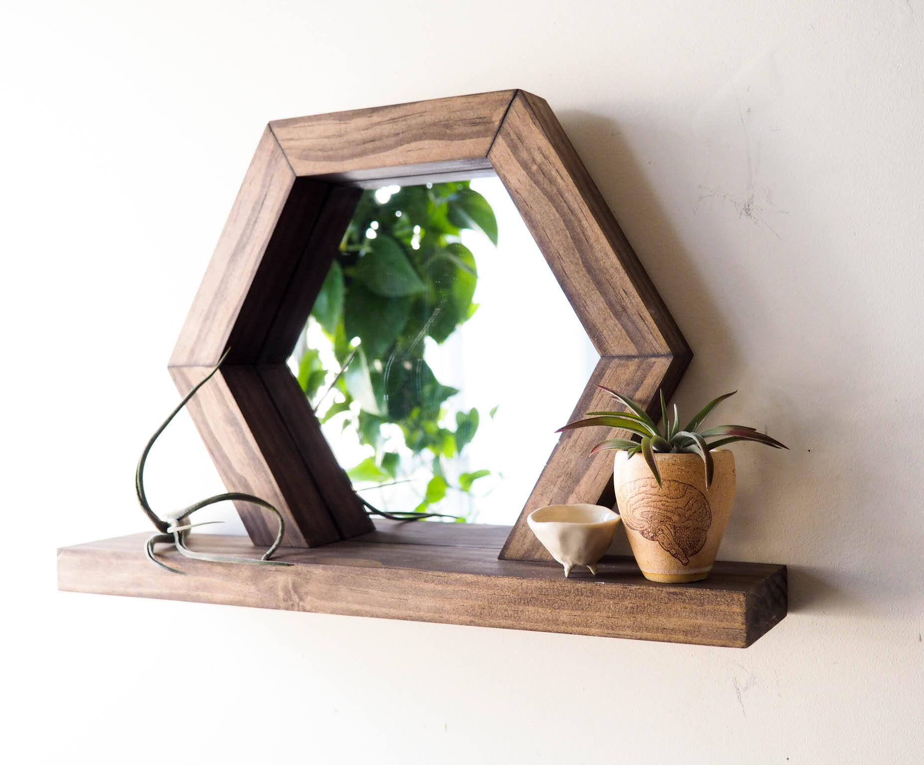 Mirror with wooded ledge