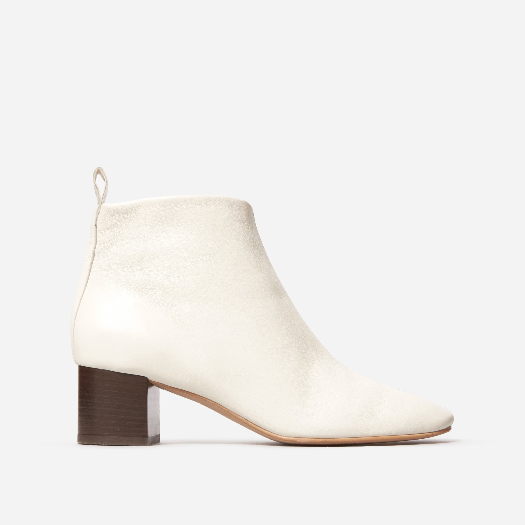 white ankle booties with brown block heel