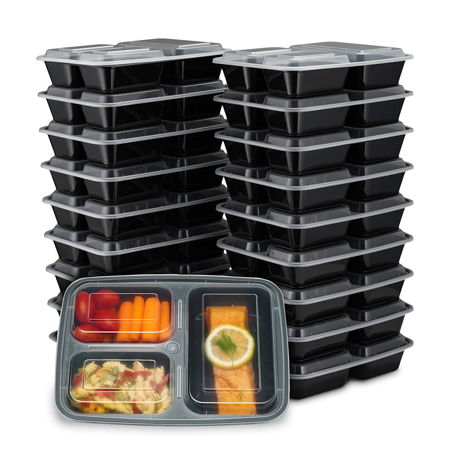 EZ Prepa 20 Pack 32oz 3 Compartment Meal Prep Containers