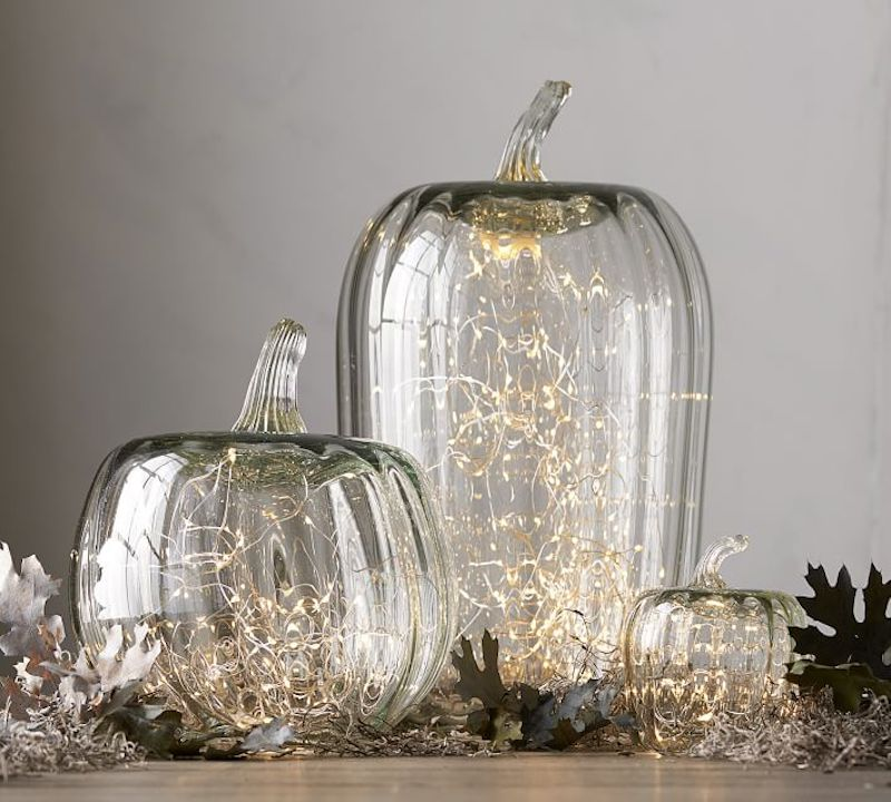 Fall Table Decorations, Glass Pumpkins with lights