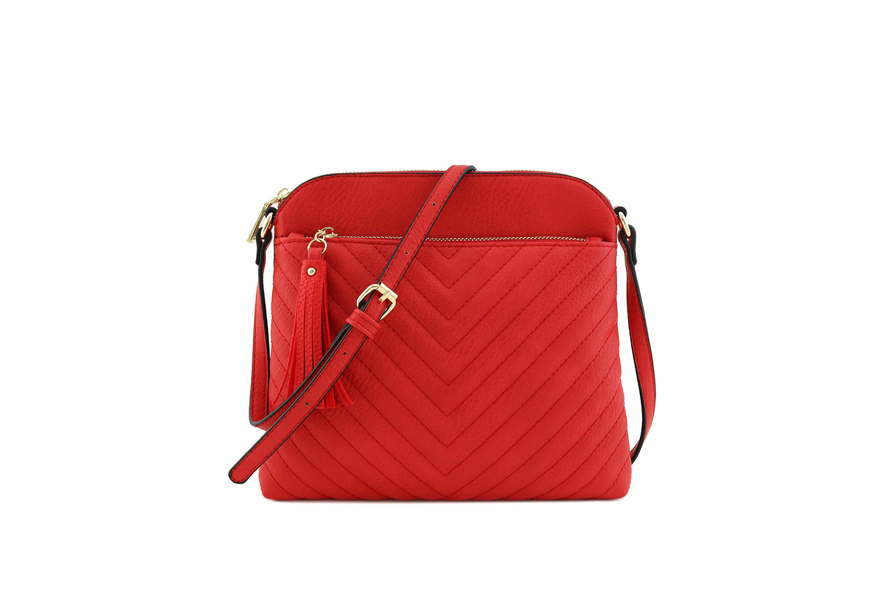 FashionPuzzle Quilted Crossbody Bag With Tassel Accent