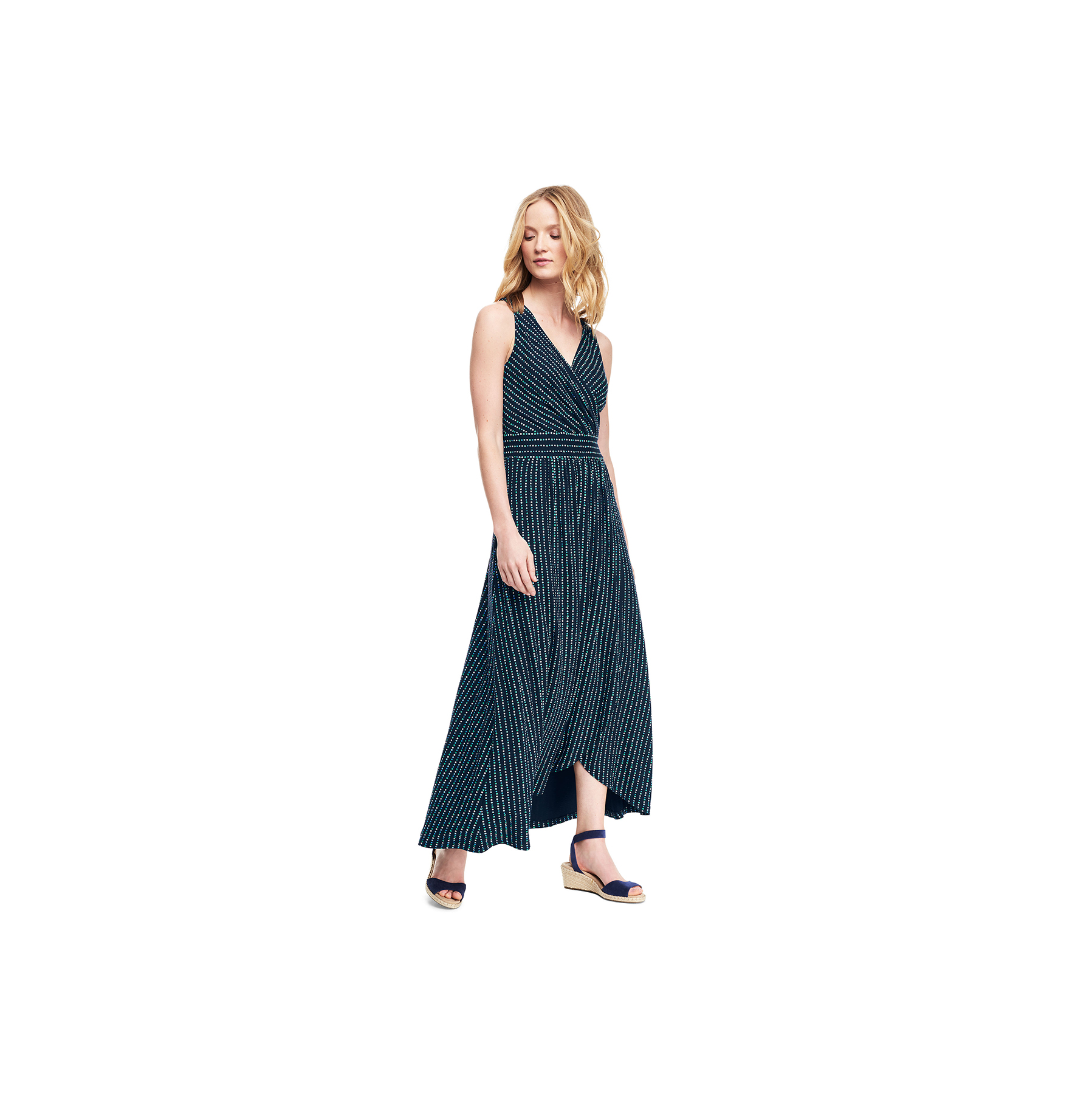 Land's End Sleeveless Fit and Flare Maxi Dress