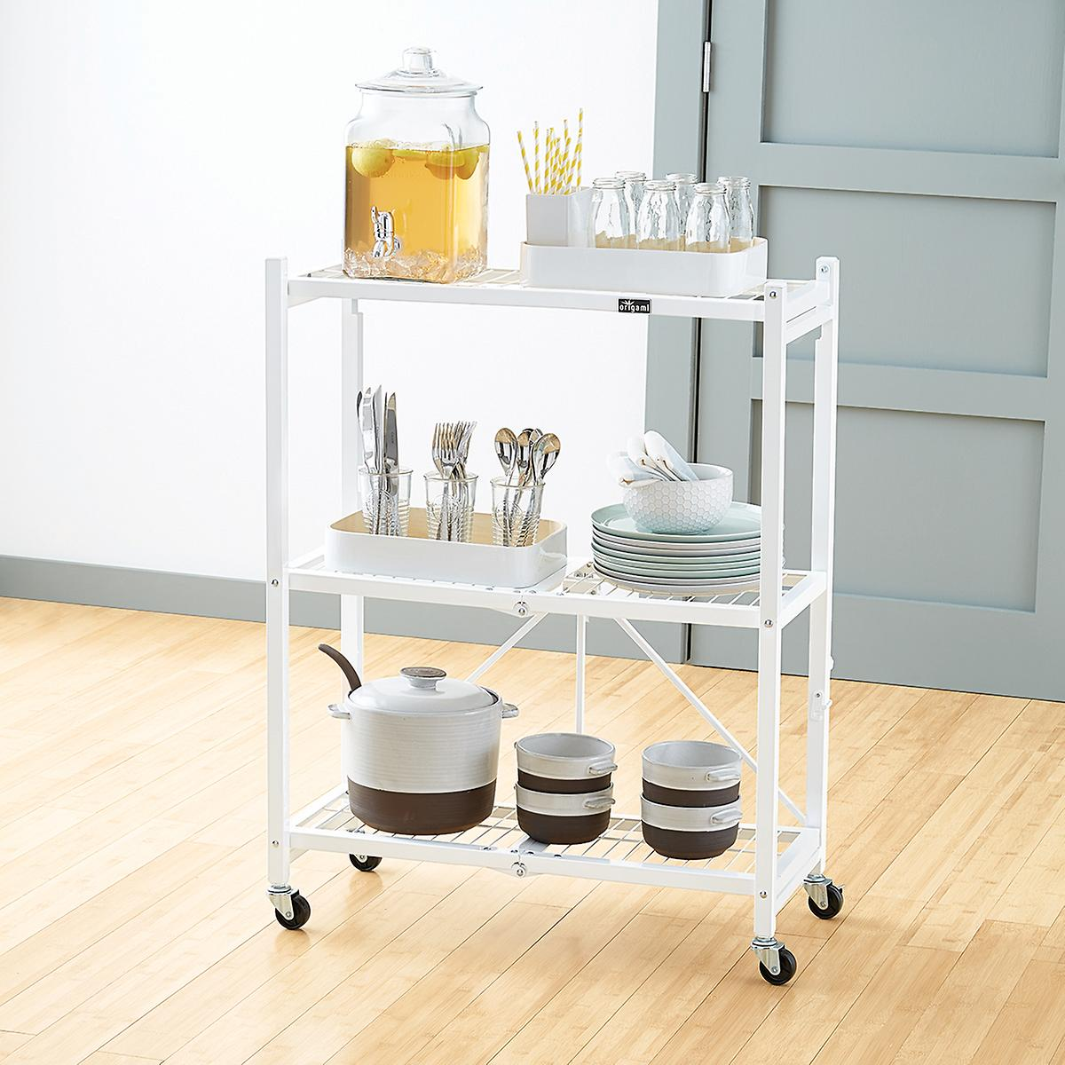Folding Storage Rack with dishes in kitchen