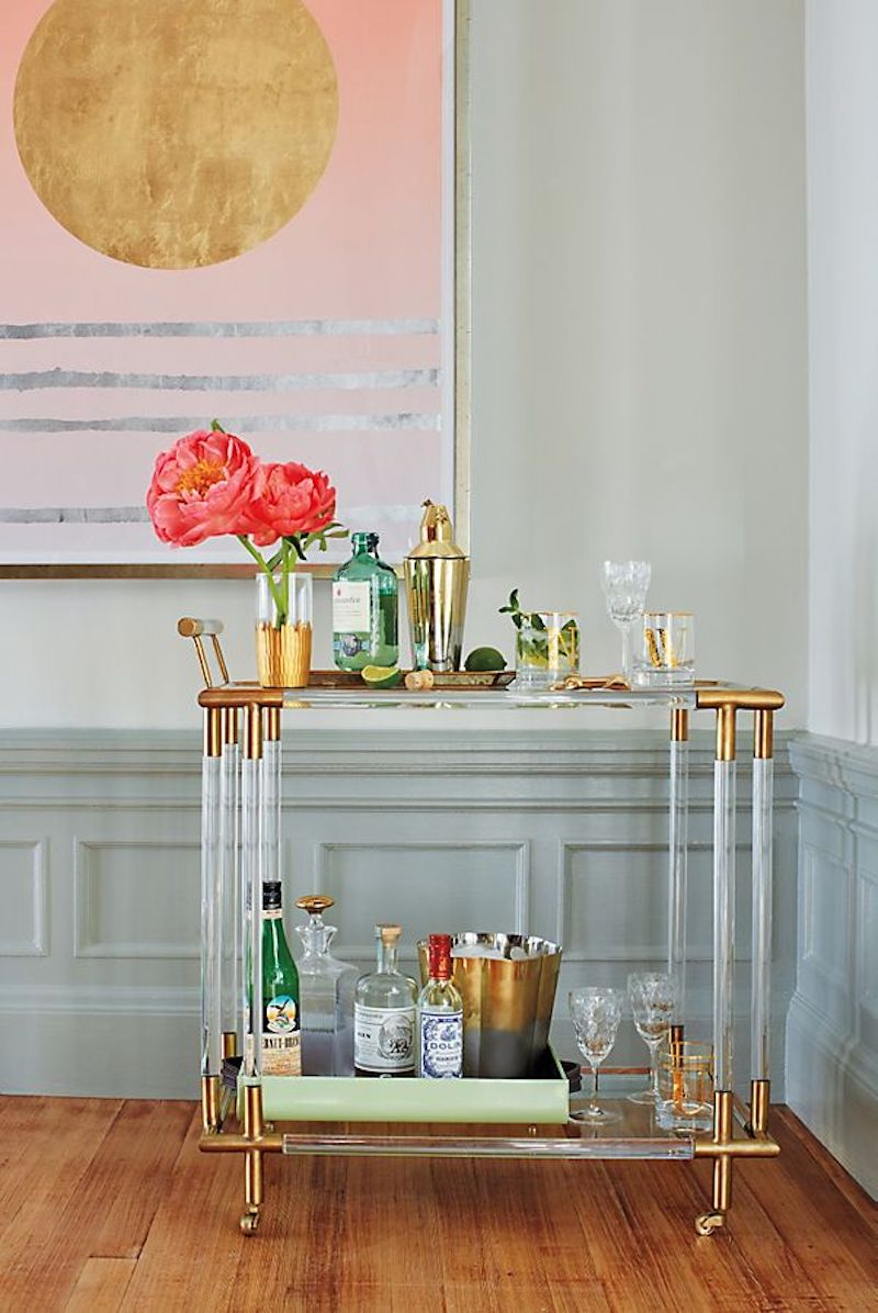 Furniture for Small Spaces, lucite bar cart