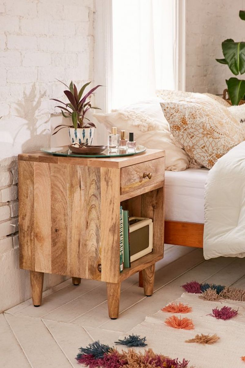 Furniture for Small Spaces, Wooden nightstand with shelf
