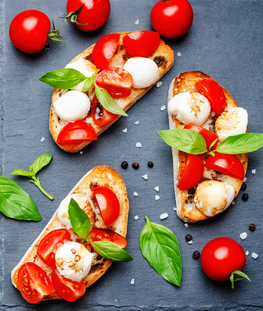 crostini  with tomato and mozzarella