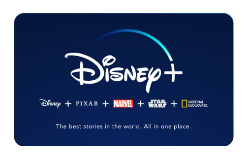 Gifts for Sick or Injured People and quarantine gift ideas - Disney+ Subscription Card