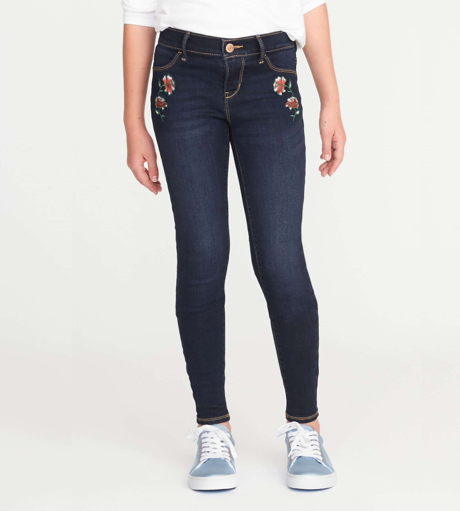 Cozy-Lined Embroidered-Patch Rockstar Jeggings for Girls