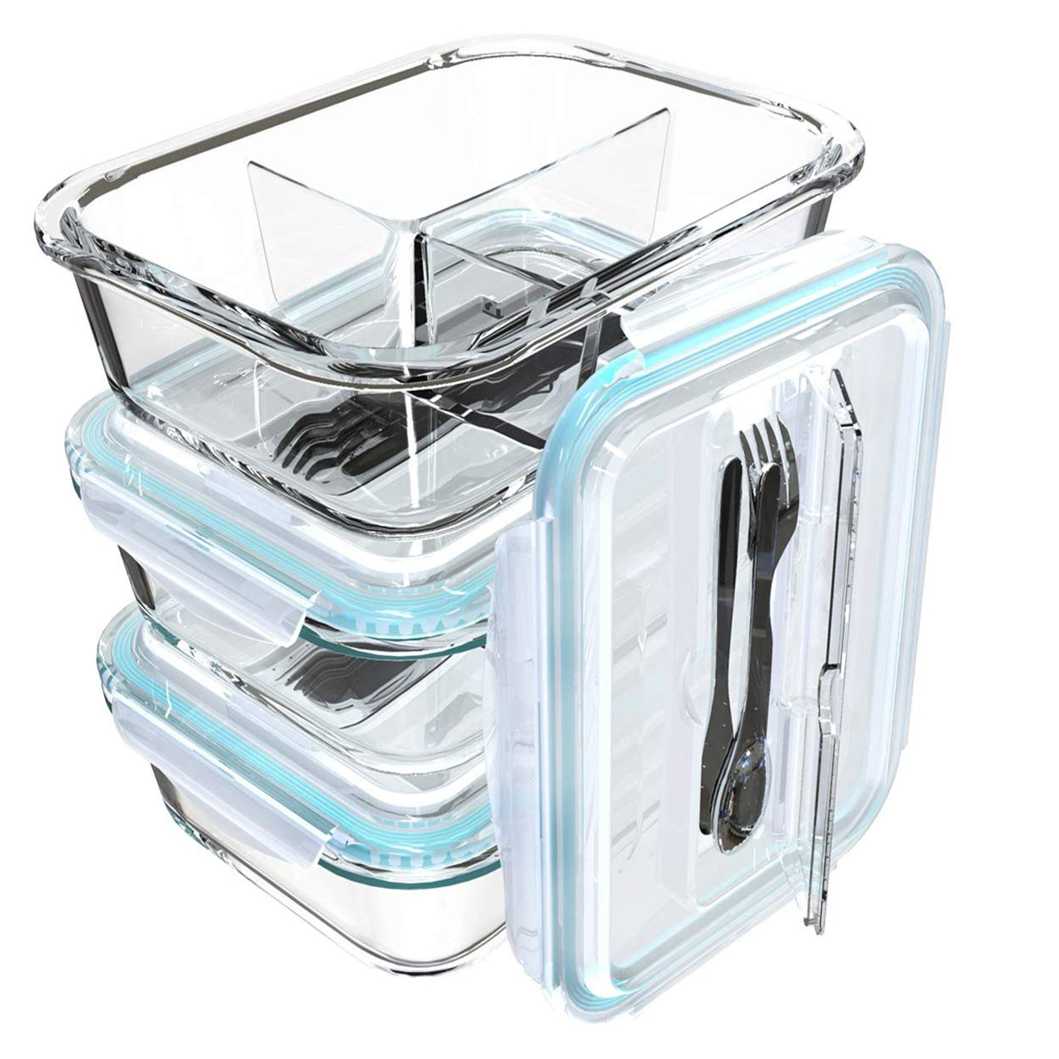 Glass Meal Prep Containers 3 Compartment Bento Box