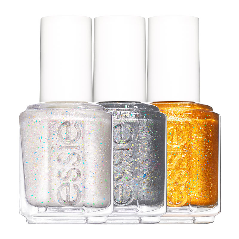 Best Glitter Makeup: Essie Nail Polish in Let It Bow, Making Spirits Bright, and Caught on Tape