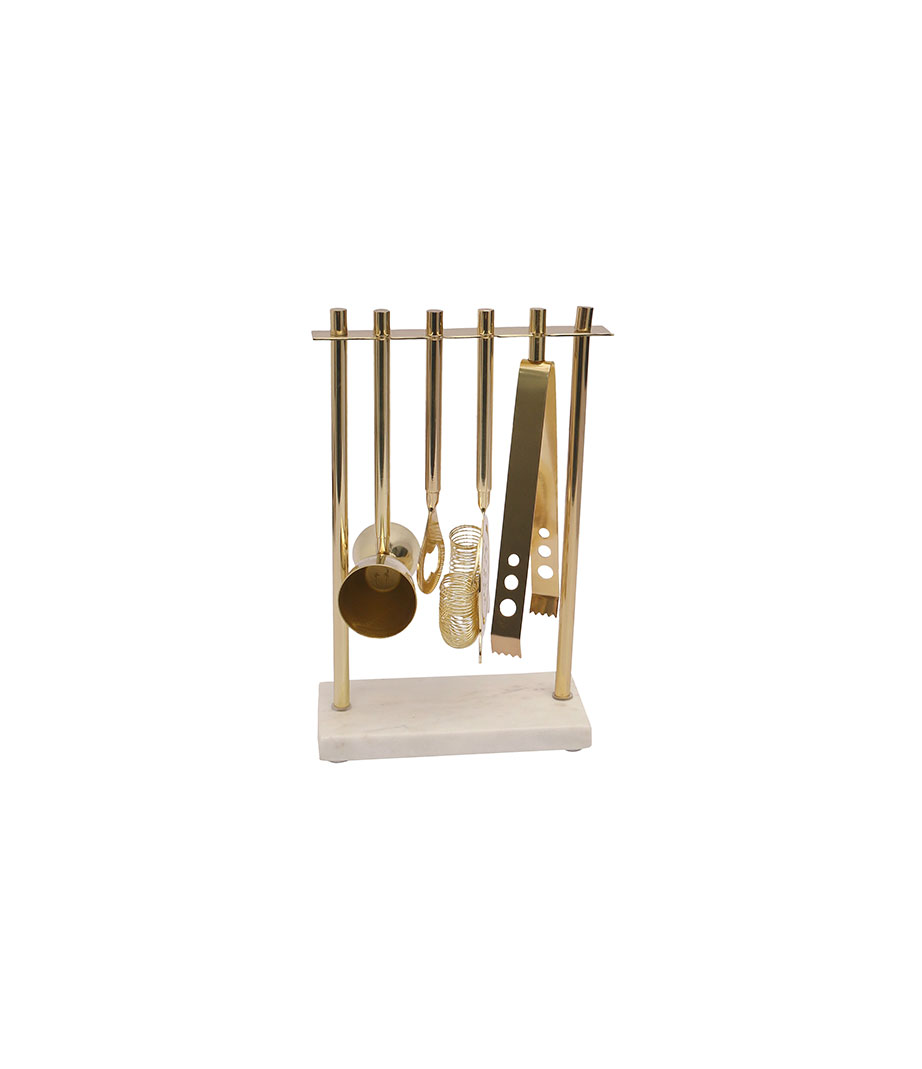 Marble and Gold Barware Tool Set