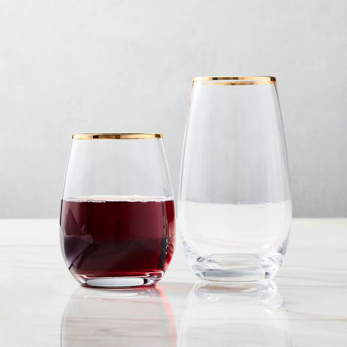 Gold Rimmed Stemless Glassware