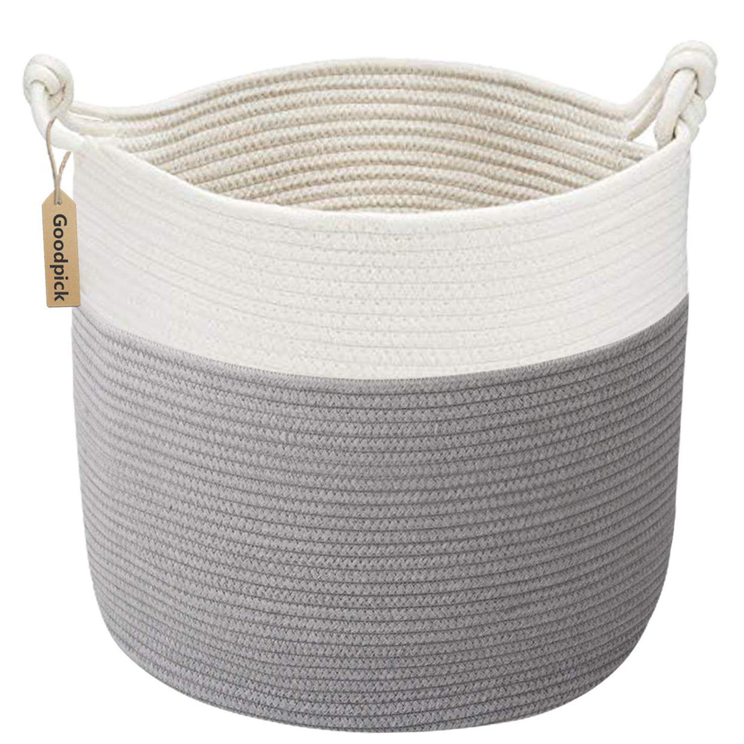 Goodpick Cotton Rope Basket with Handle for Baby Laundry Basket