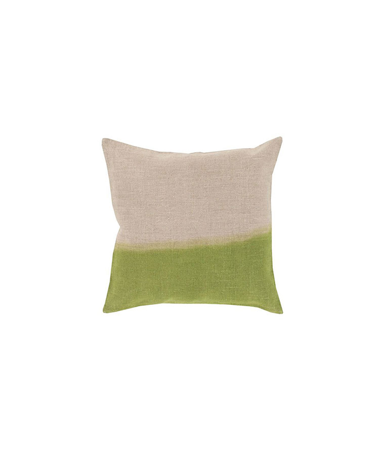 Surya Dip Dyed Neutral and Green Pillow