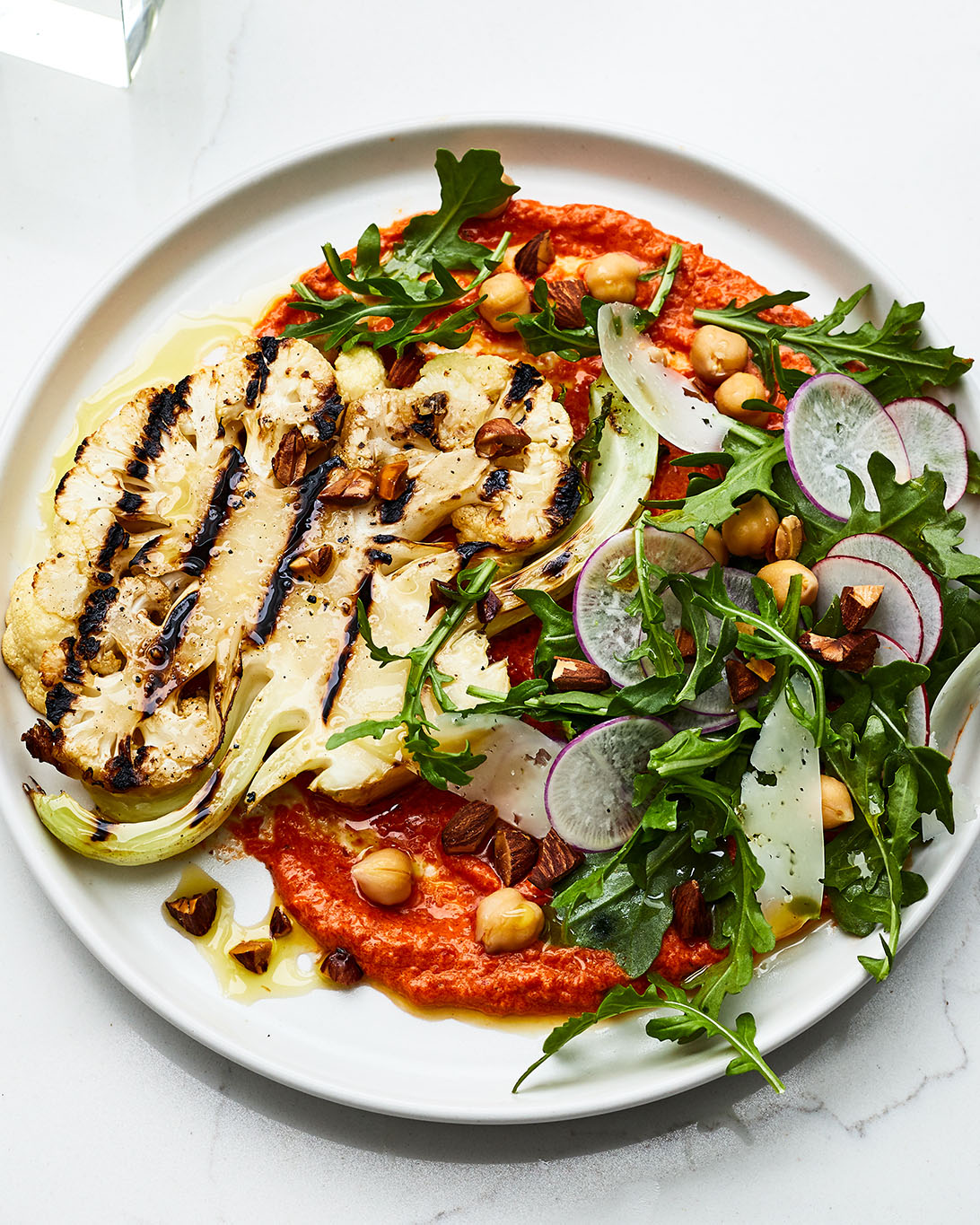 Grilled Cauliflower Steaks With Romesco and Manchego Recipe