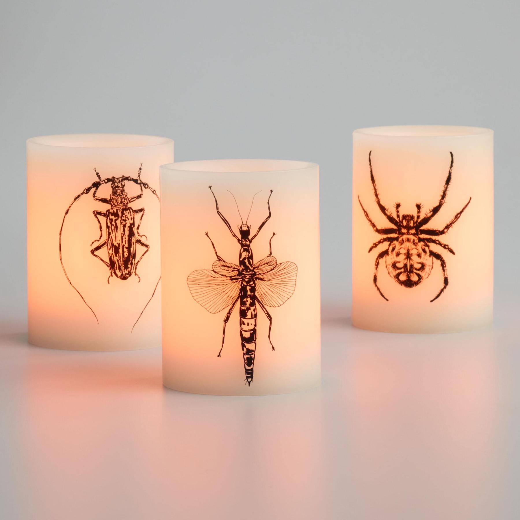 Halloween Decorating Ideas, Bug-Adorned Candles