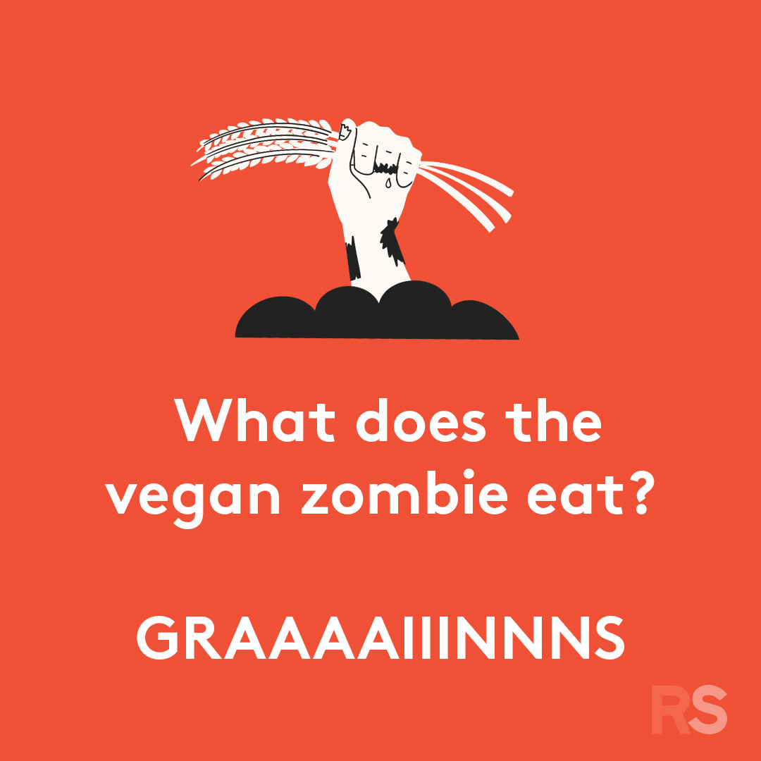 Halloween puns - what does a vegan zombie eat