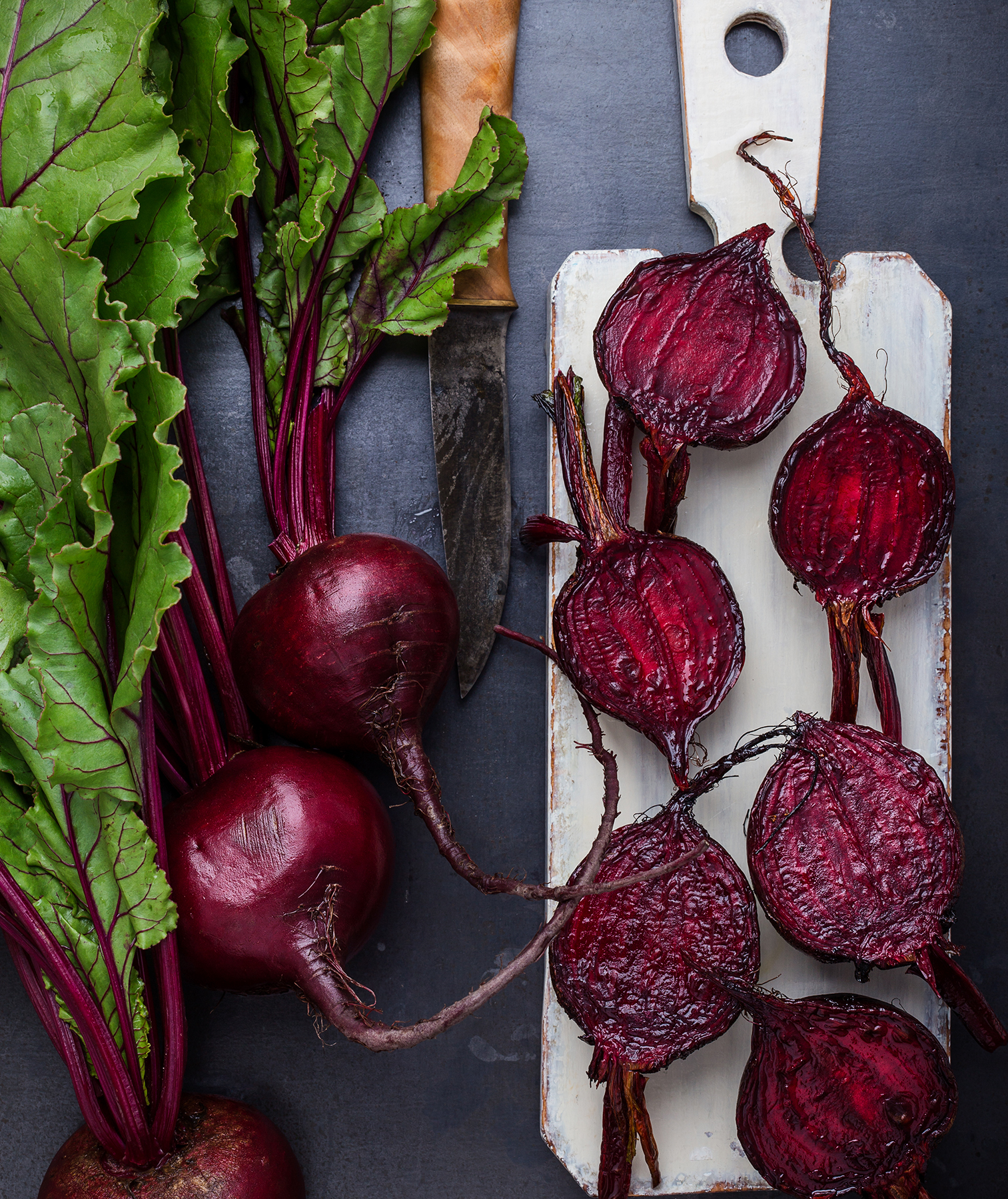 Fresh beets, some whole, some cut in half