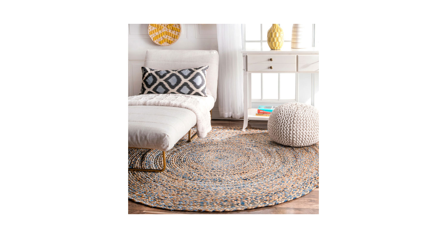Hand Braided Jute and Denim Area Rug