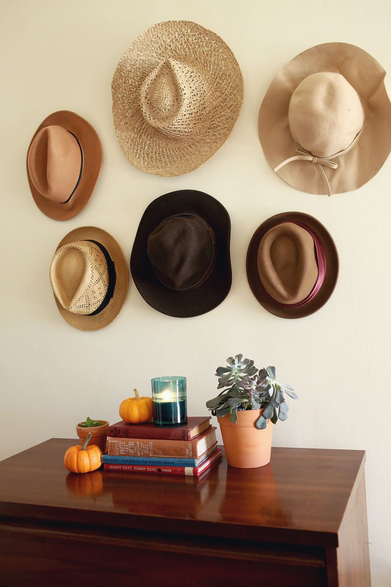 Hats organized on wall