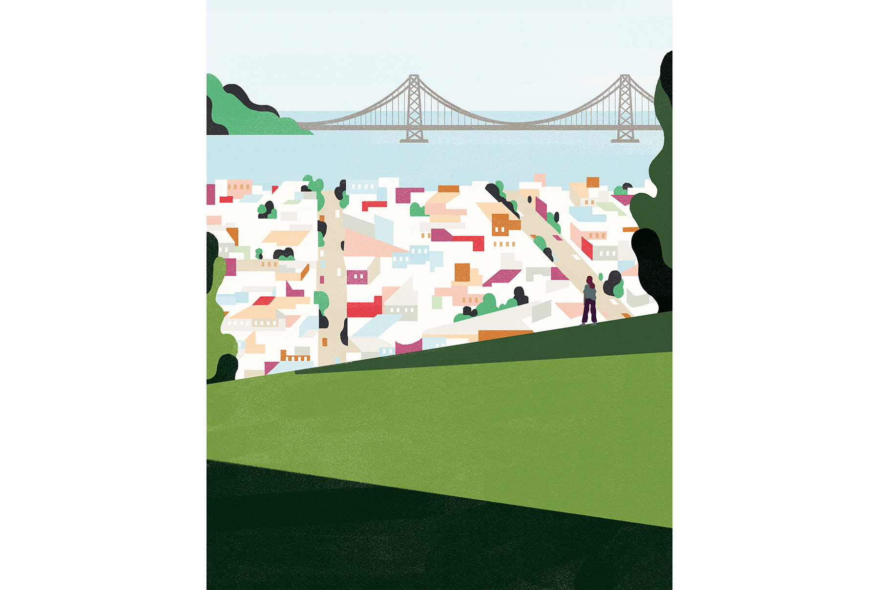 Illustration: woman staring out over San Francisco Hills