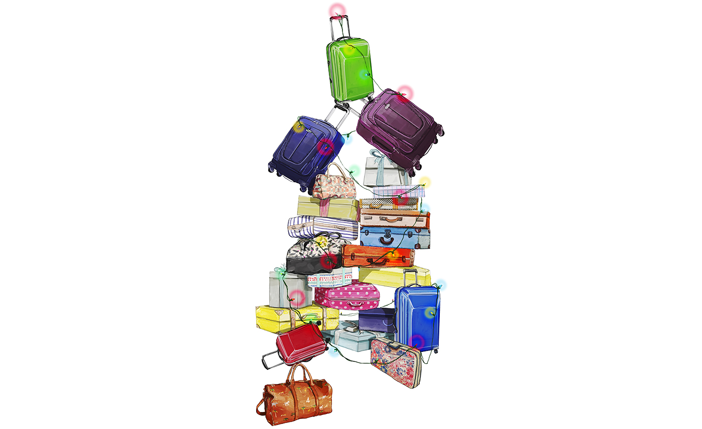 Illustration: stack of holiday luggage and gifts