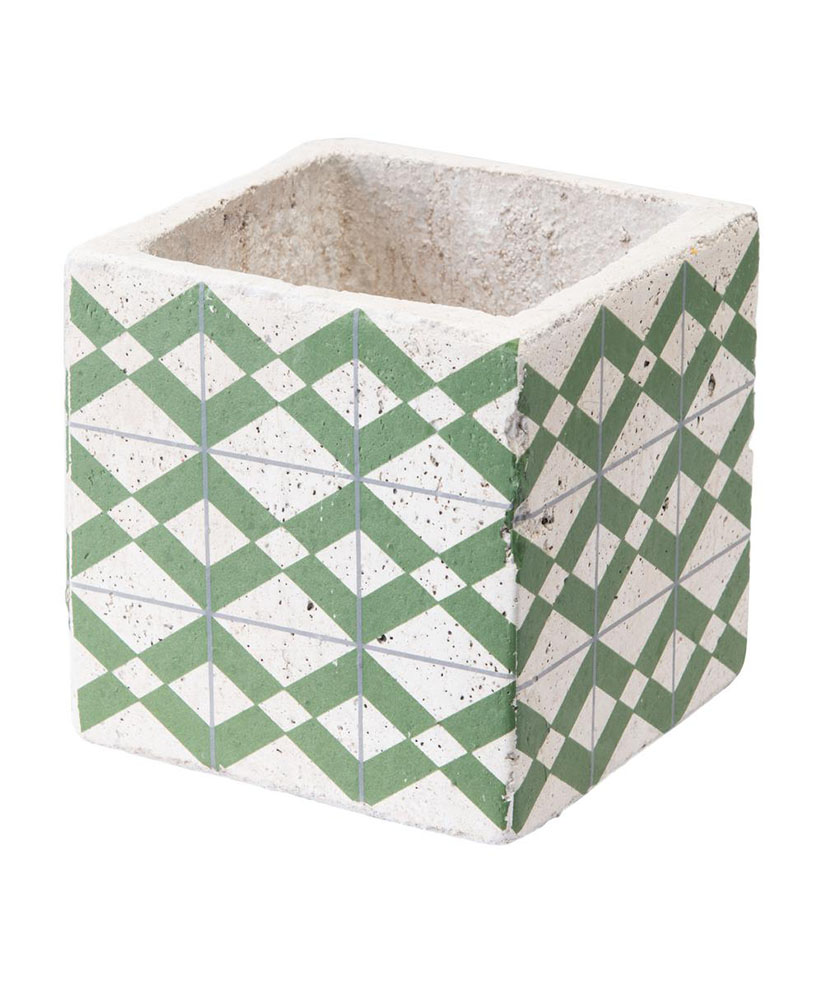 Cement Tribal Green and Yellow Ceramic Planter