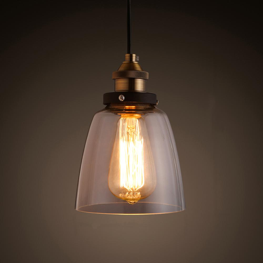 Copper and Clear Glass Adjustable Pendant Lamp