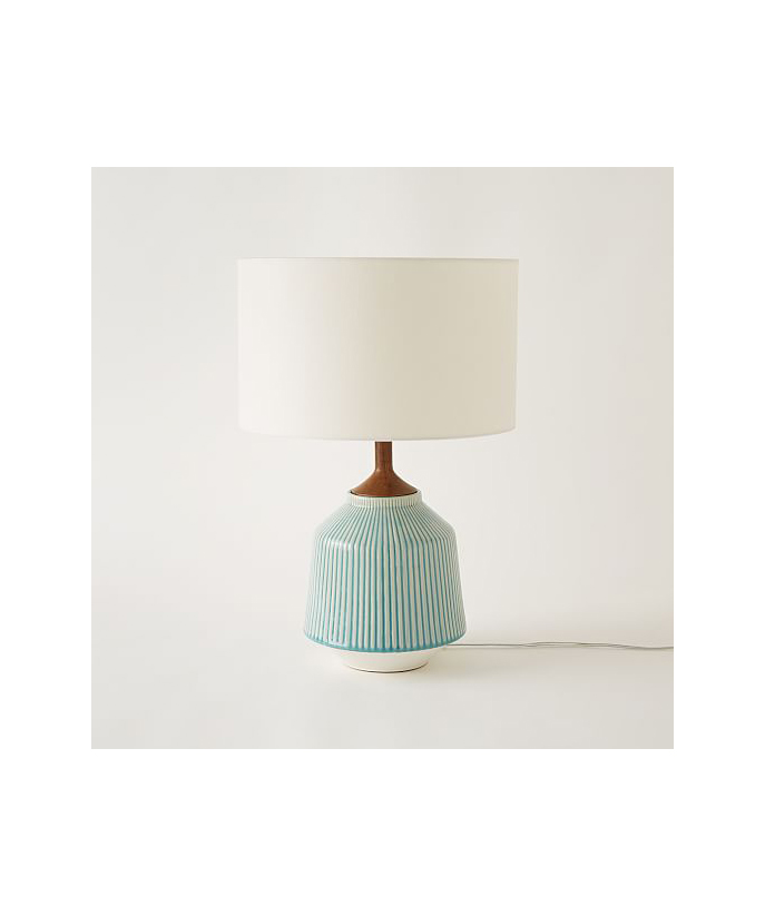 Home Office Furniture Must-Haves: Roar + Rabbit Ripple Ceramic Table Lamp in Turquoise