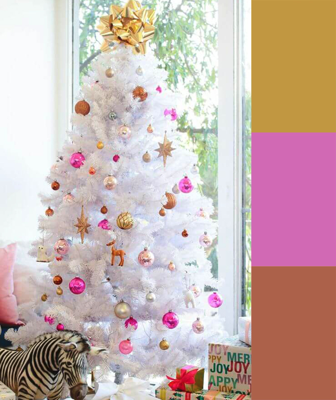 Hot pink, gold, and copper tree