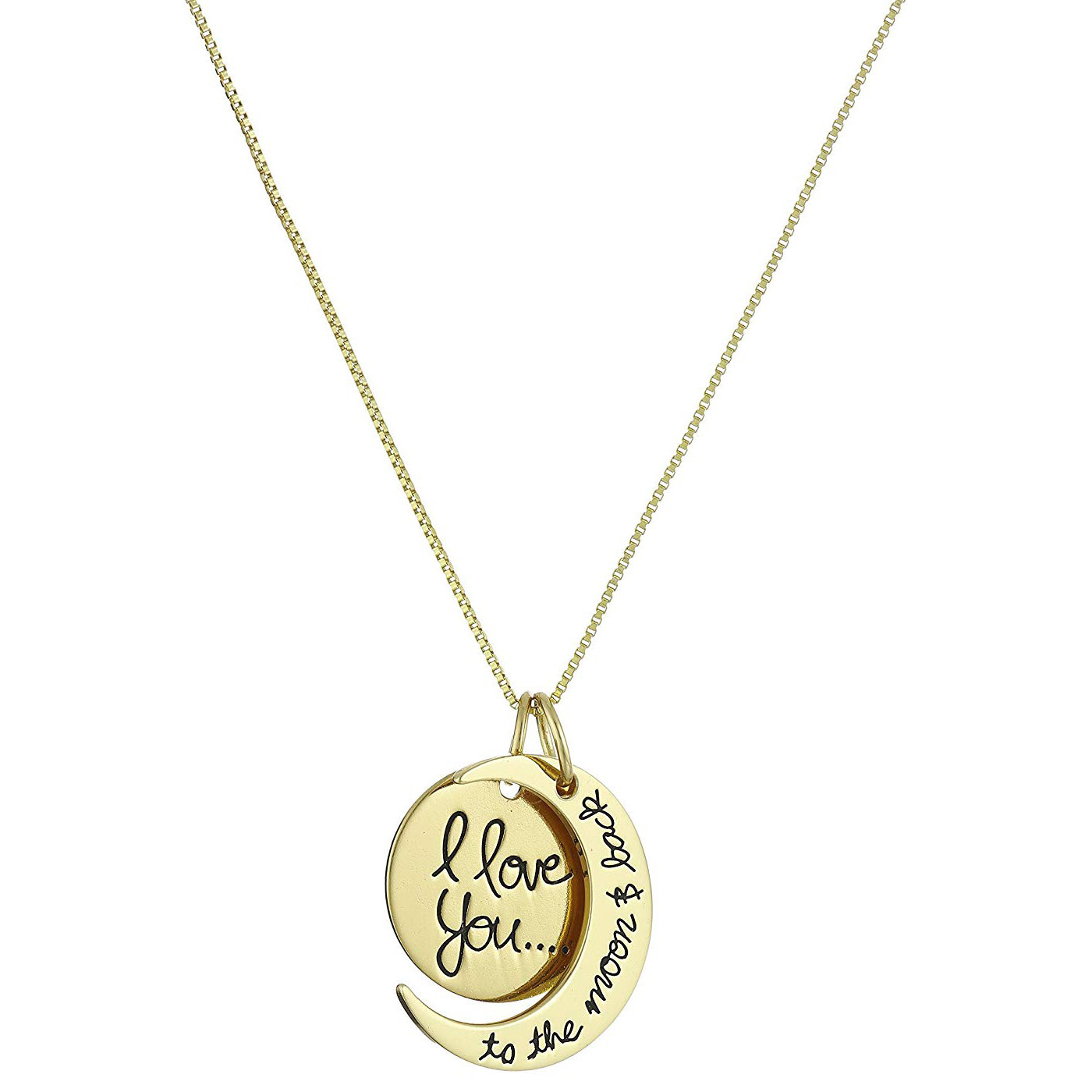 I Love You to the Moon and Back Two-Piece Pendant Necklace
