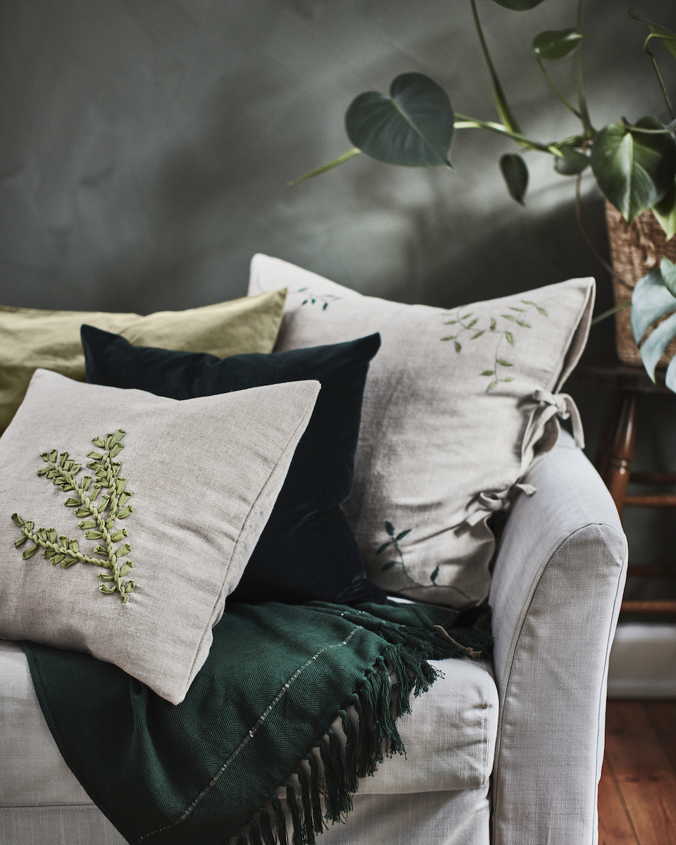 IKEA floral embroidered throw pillow