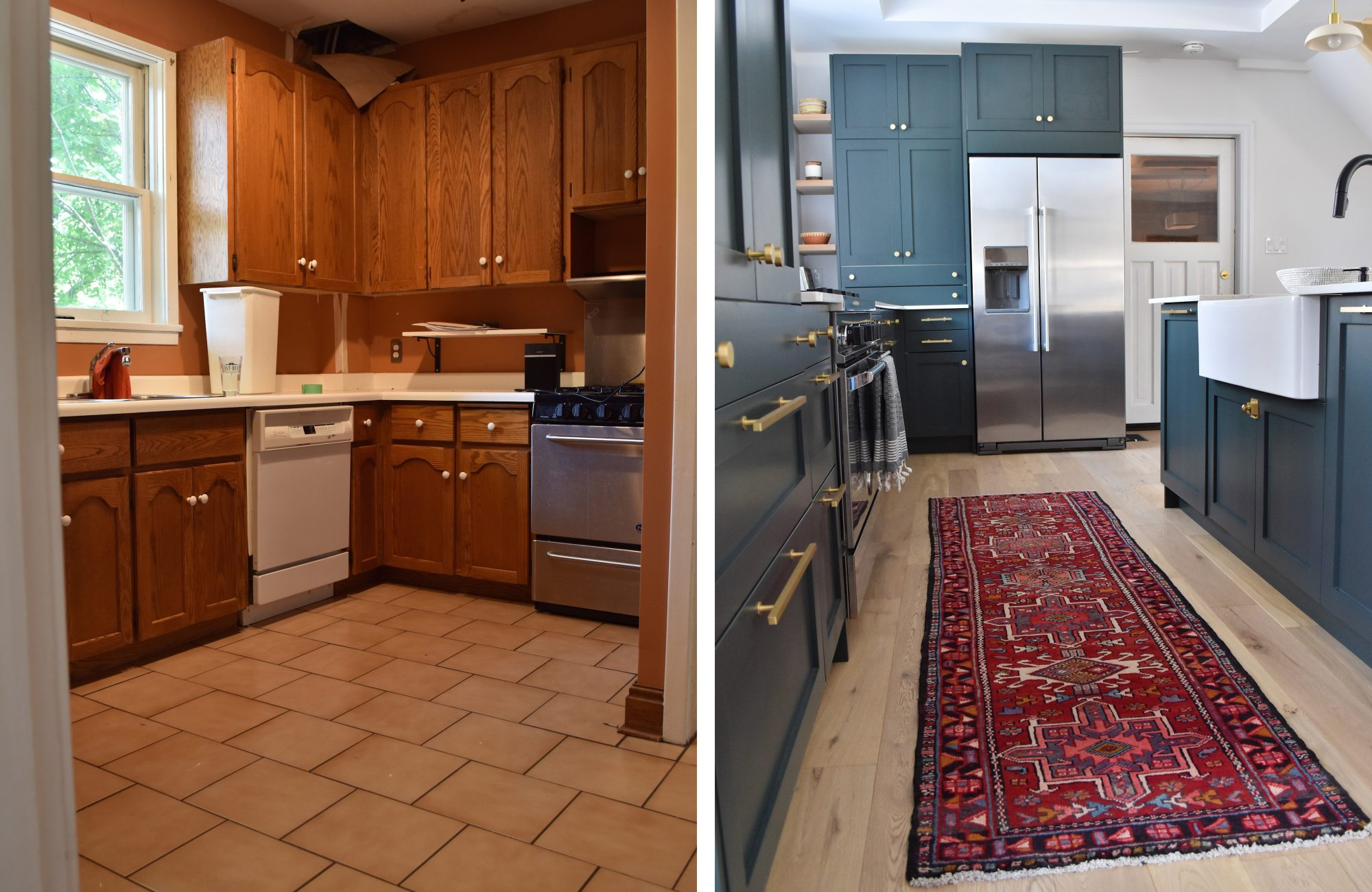 IKEA kitchen cabinet makeover by Rug & Weave, blue shaker cabinets